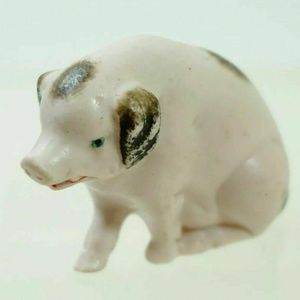 """German Pig Hog Bisque Figurine Germany #744 1.5"""""""